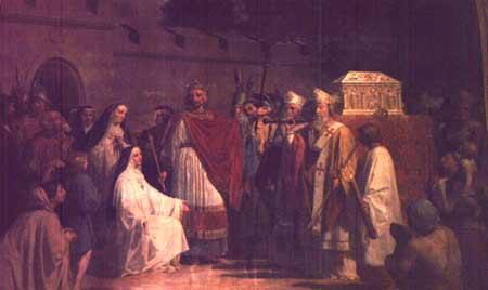 Carol cel Mara aduce Camasa in Biserica Sfantul Denis