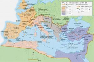 Harta Imperiului roman în timpul lui Constantin cel Mare
