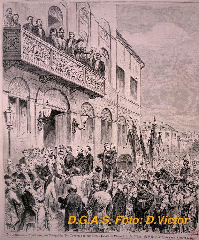 Ovația bucureștenilor în fața Palatului Regal la vestirea proclamării Regatului, 14 martie 1881