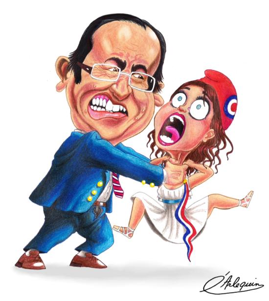 """Caricatură înfățisândul pe președintele Franței, F. Hollande, suprimând Republica Franceză, patria drepturilor omului. Aluzie la reprimarea manifestațiilor de protest anti-""""căsătoria"""" gay și la restrângerea drepturilor civile"""